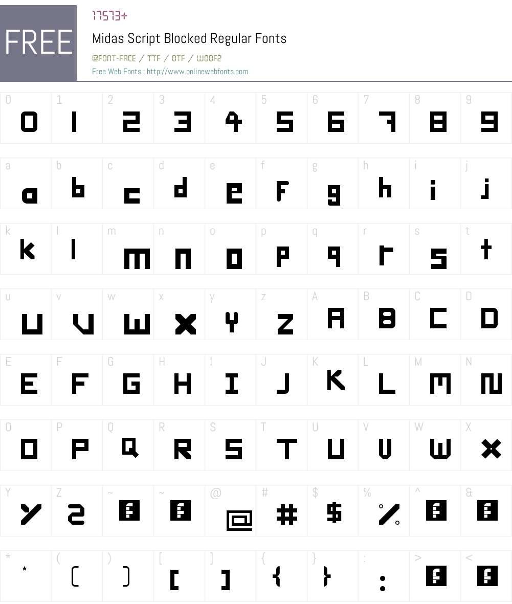 Midas Script Blocked Font Screenshots