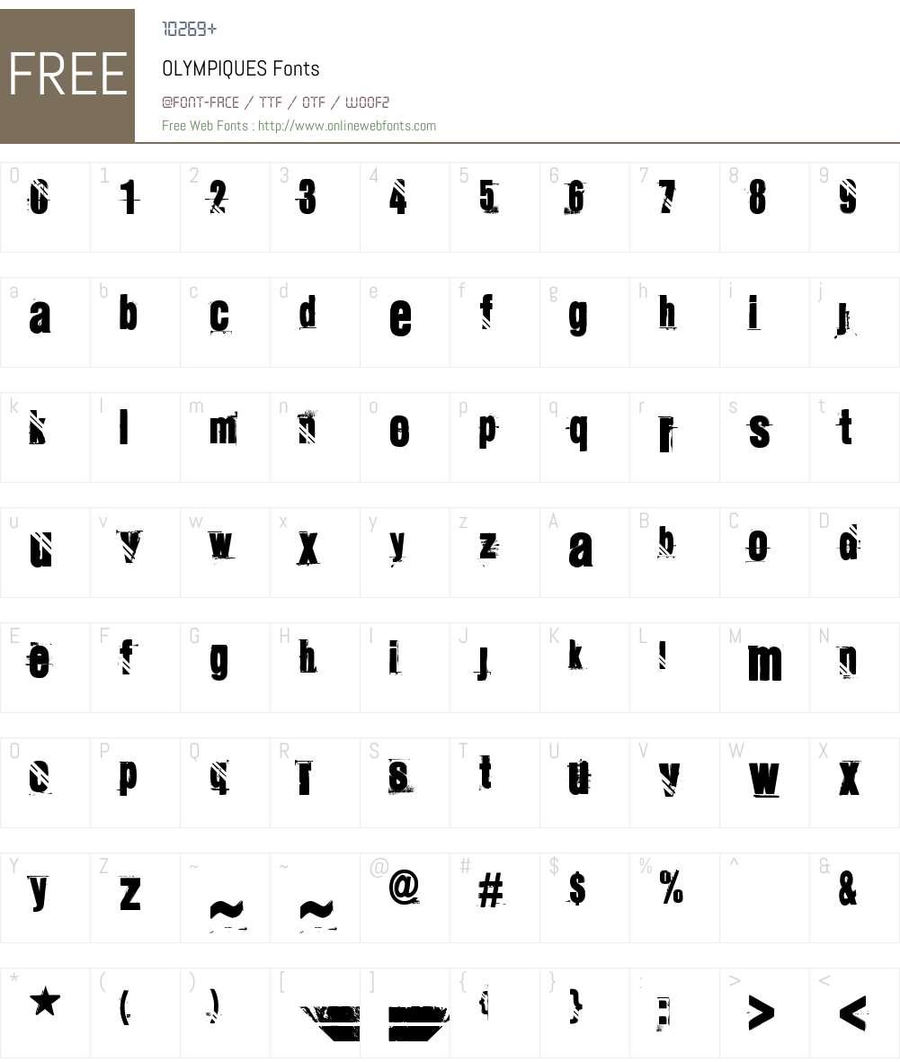 OLYMPIQUES Font Screenshots