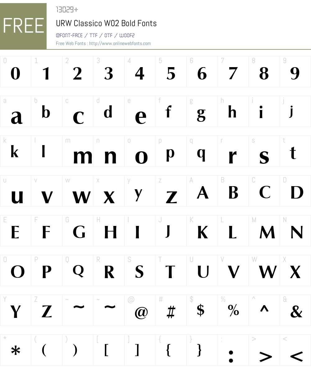 Classico Font Screenshots