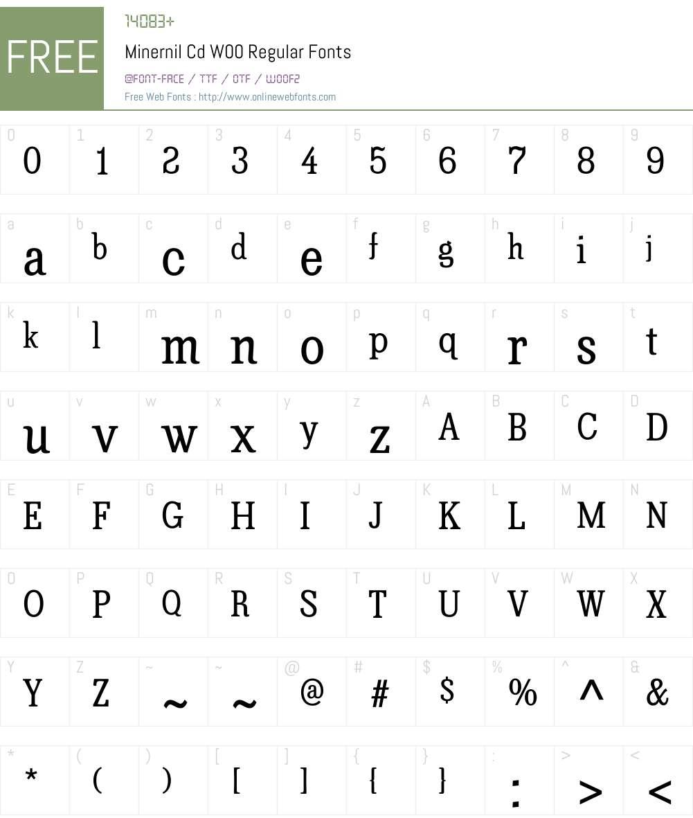 MinernilCdW00-Regular Font Screenshots