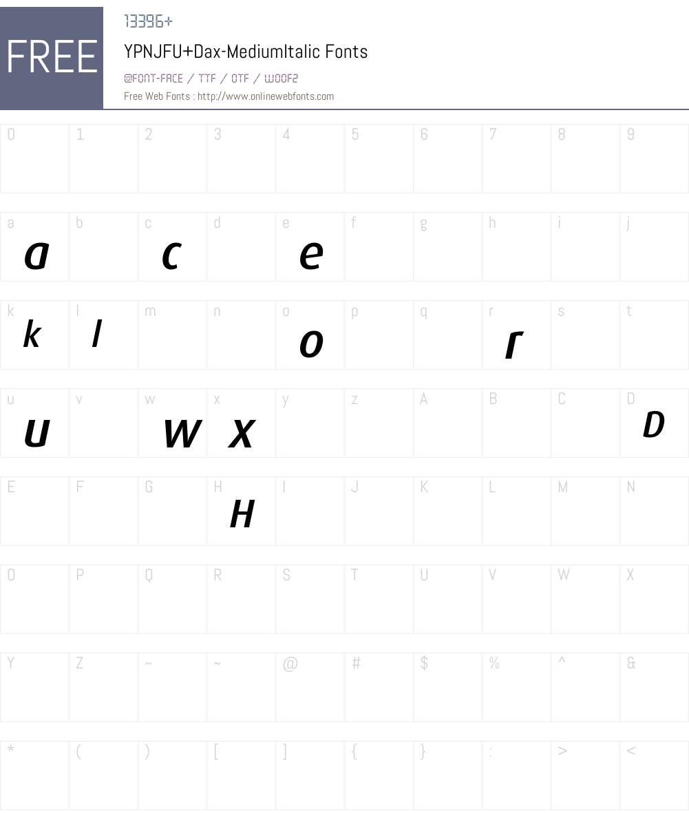 YPNJFU+Dax-MediumItalic Font Screenshots