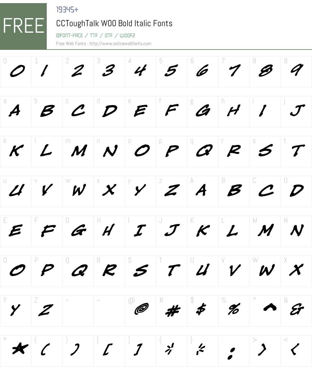 CCToughTalkW00-BoldItalic Font Screenshots