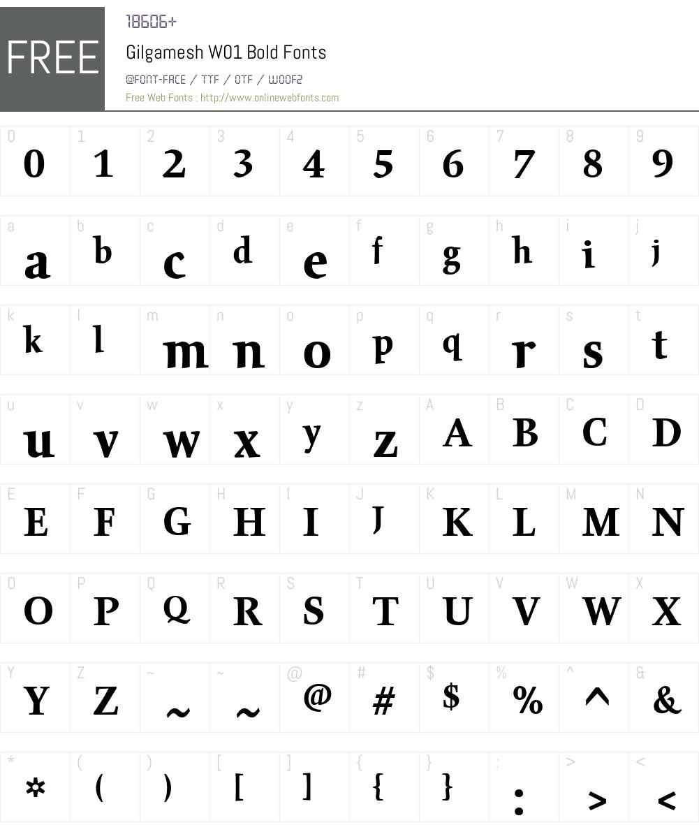 GilgameshW01-Bold Font Screenshots