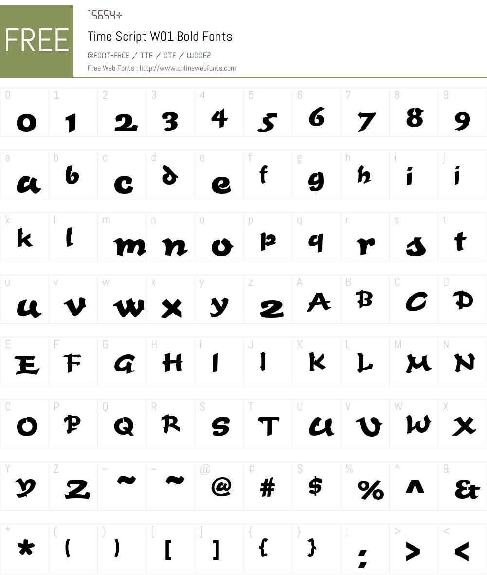 TimeScriptW01-Bold Font Screenshots