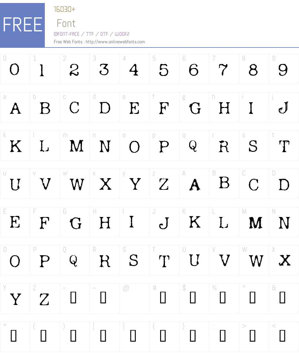 Andreas Typewriter Font Screenshots