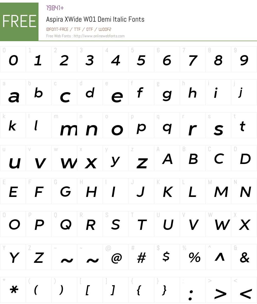AspiraXWideW01-DemiItalic Font Screenshots
