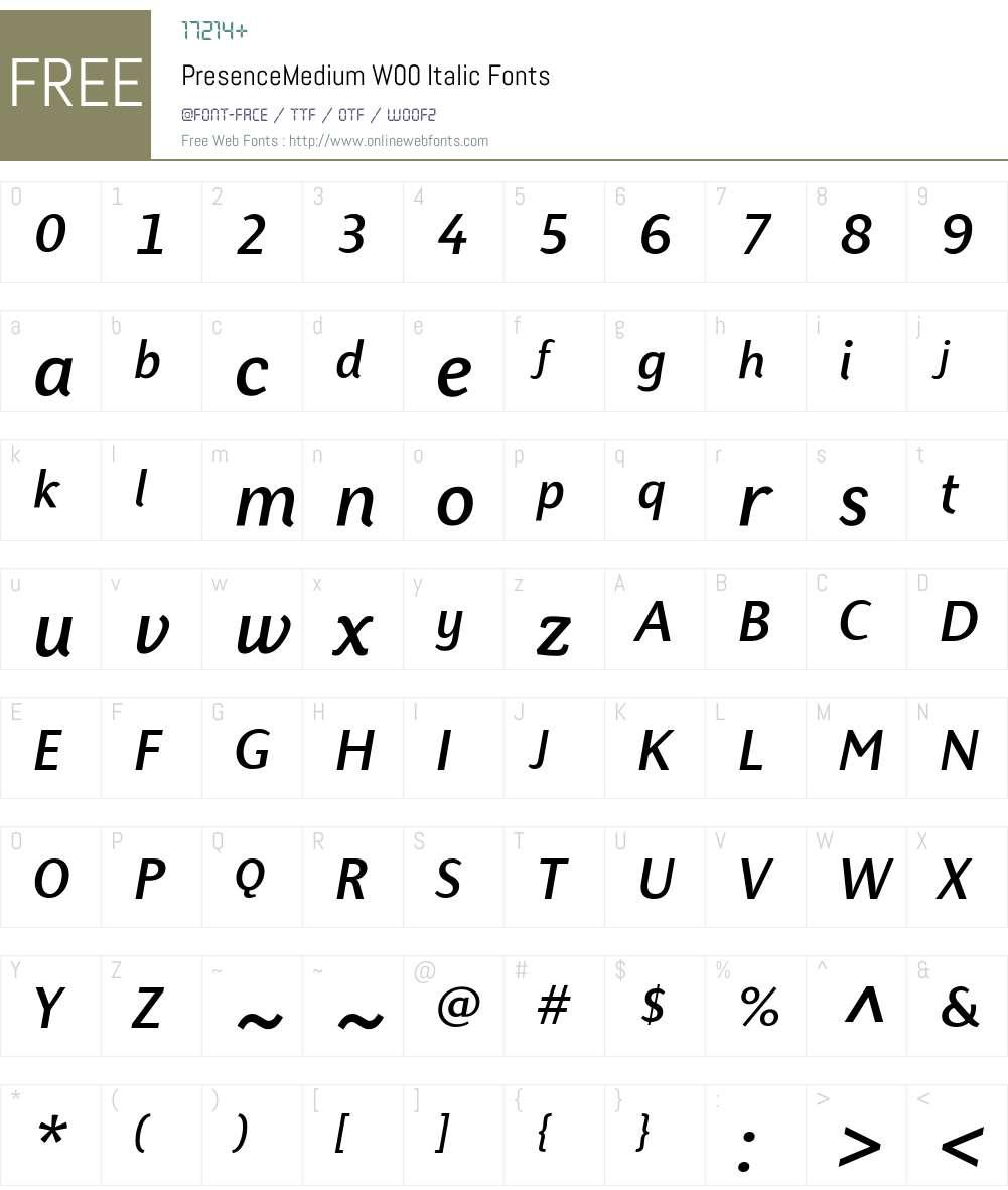 PresenceMediumW00-Italic Font Screenshots