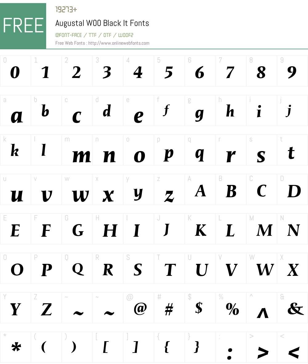 AugustalW00-BlackIt Font Screenshots