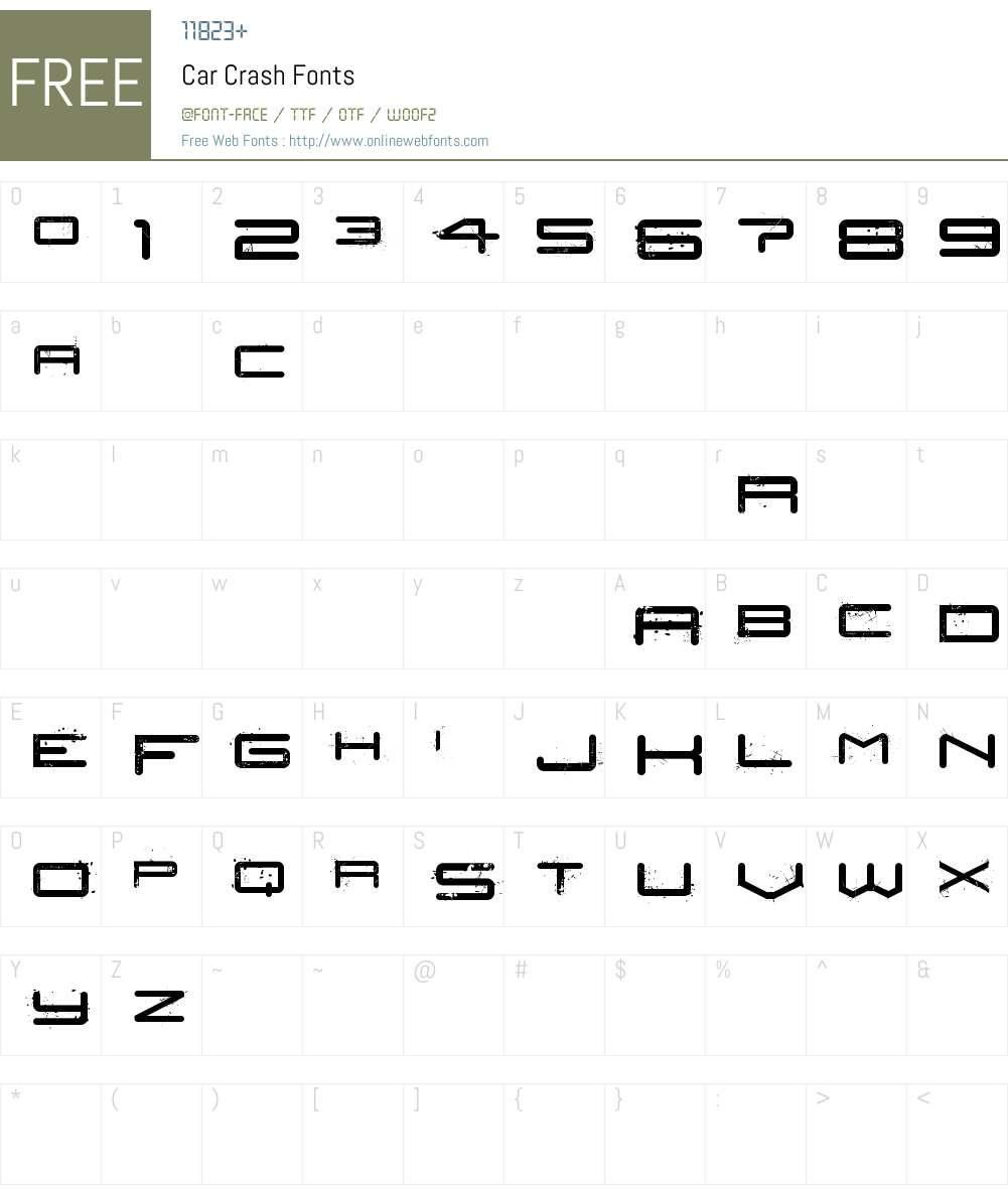 Car Crash Font Screenshots
