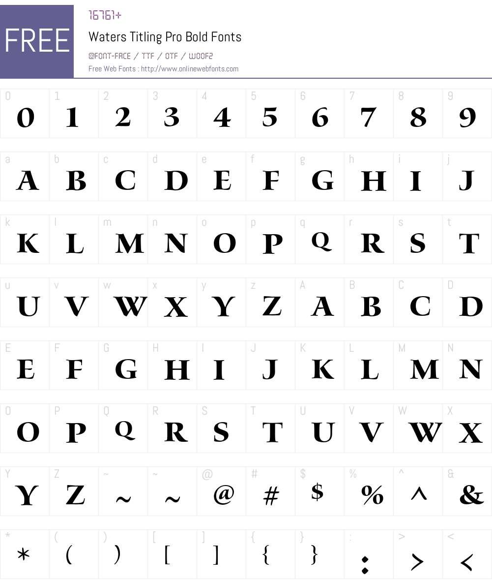 Waters Titling Pro Font Screenshots