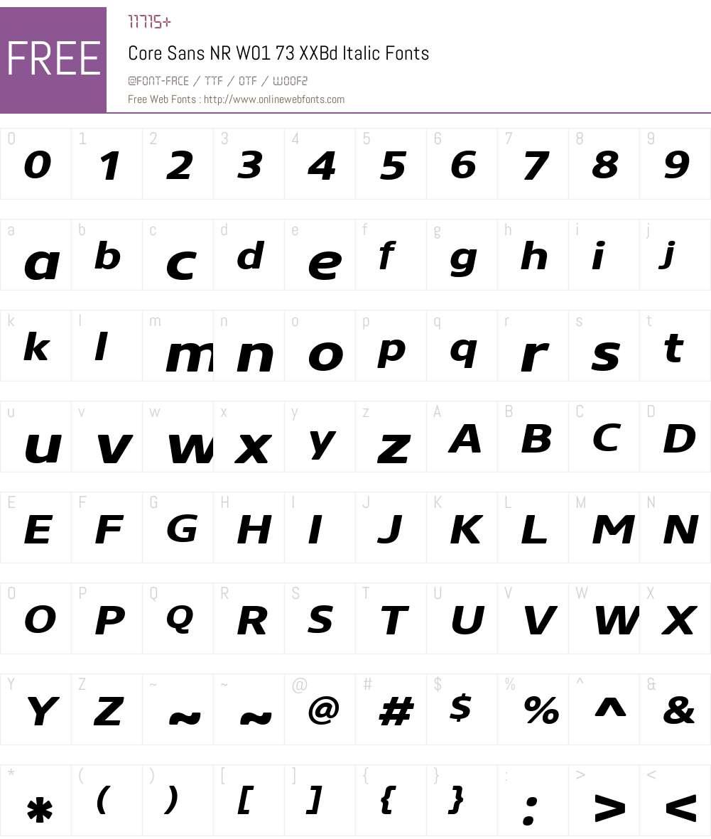 CoreSansNRW01-73XXBdItalic Font Screenshots