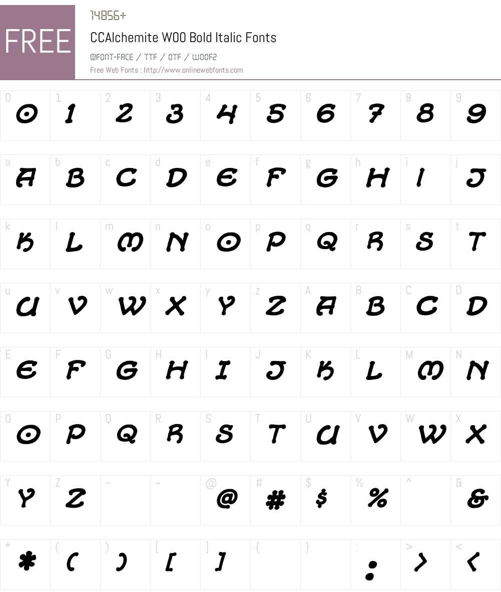 CCAlchemiteW00-BoldItalic Font Screenshots