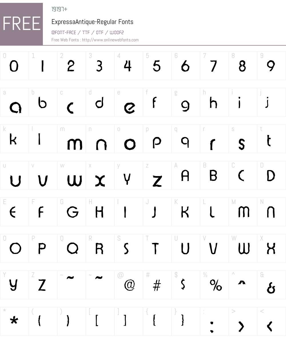 ExpressaAntique Font Screenshots