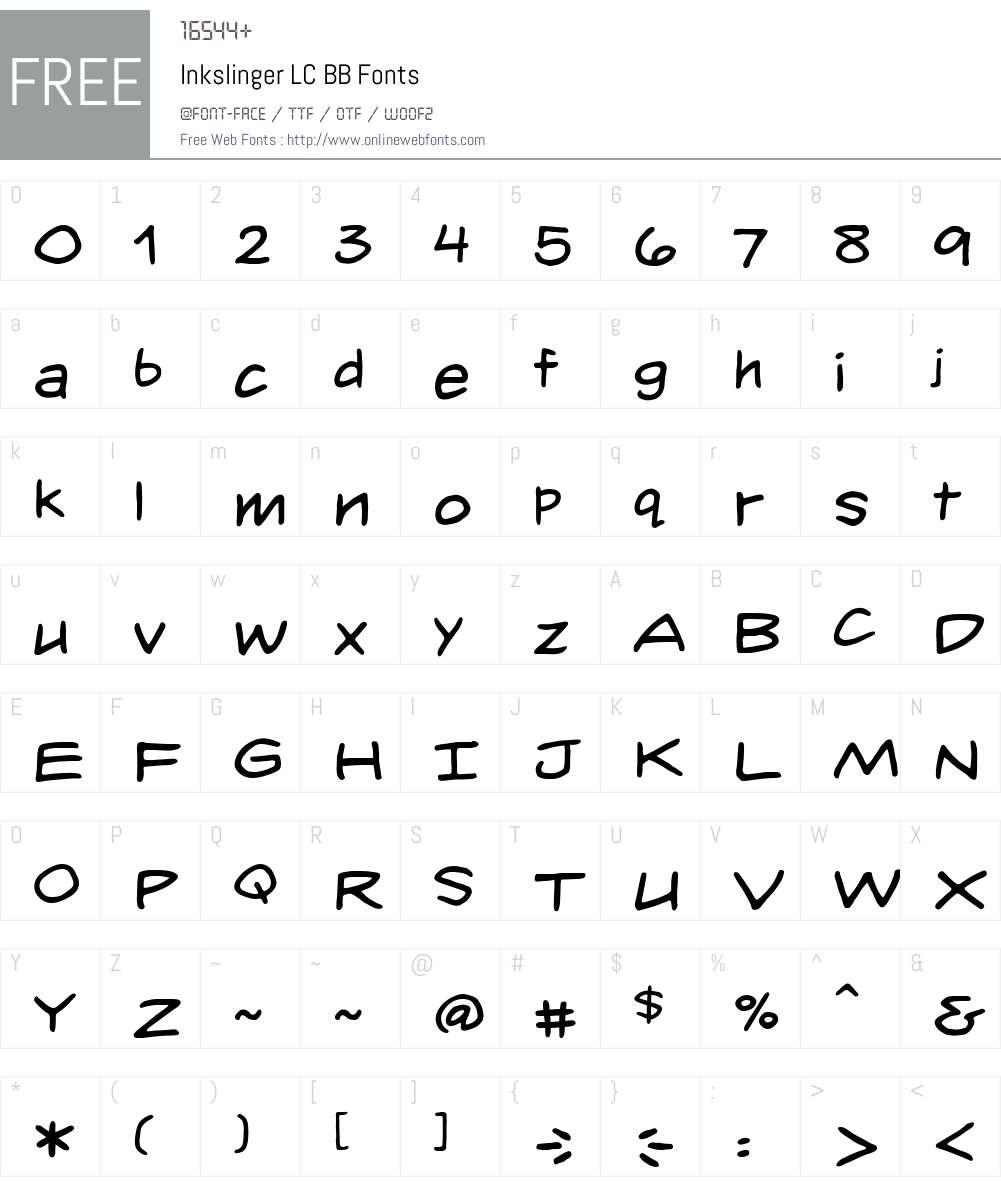 InkslingerLCBB Font Screenshots