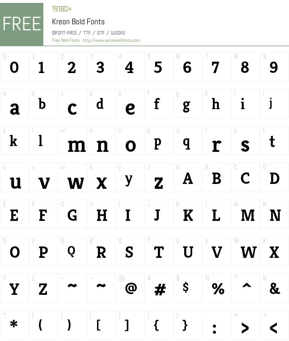 Kreon Font Screenshots