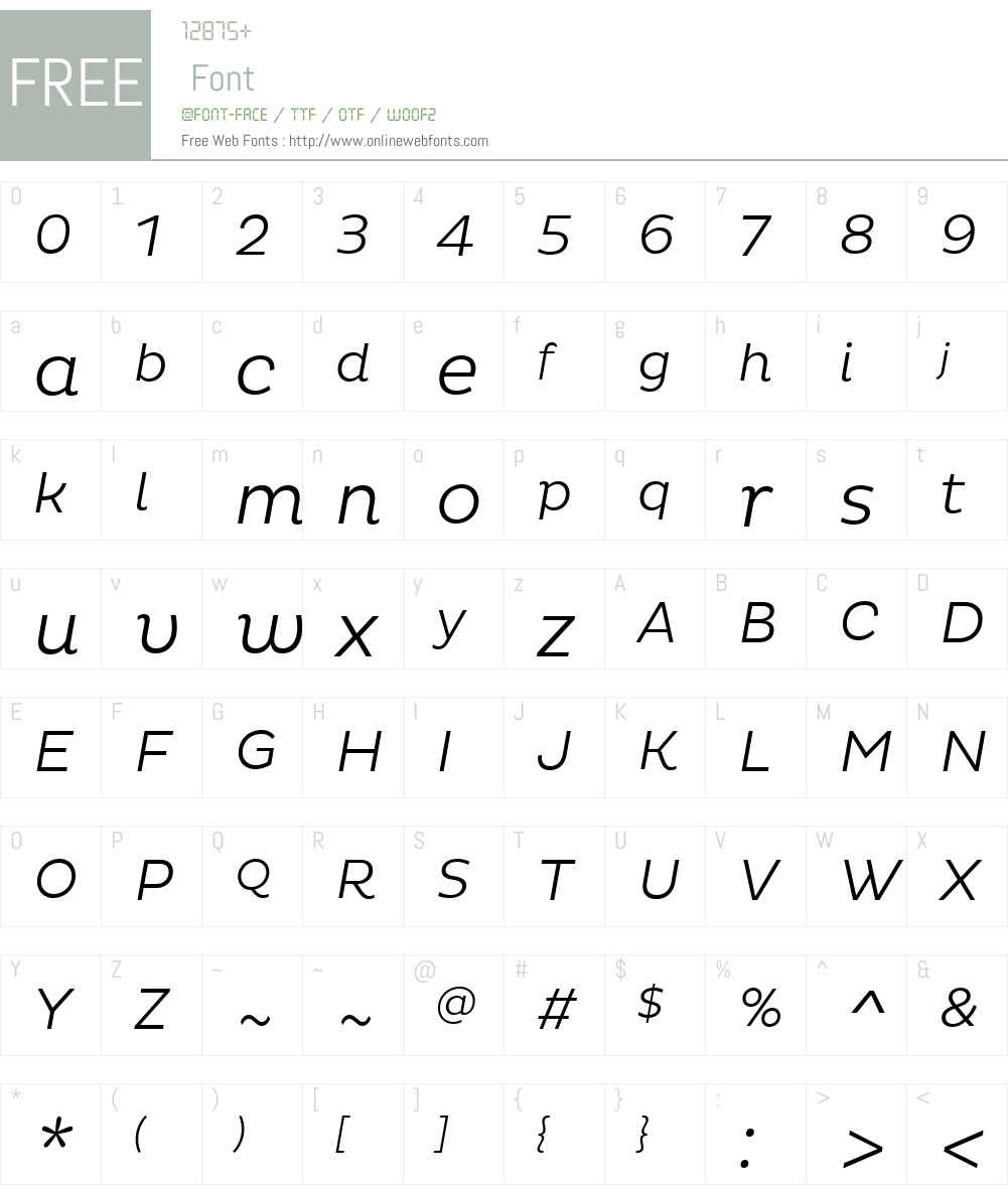PlutoW01-LightItalic Font Screenshots
