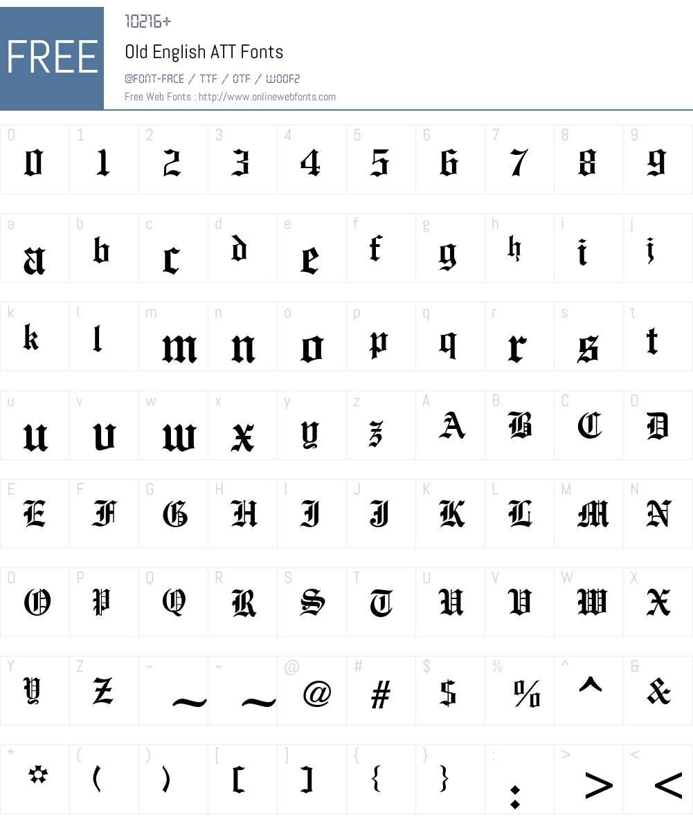 Old English ATT Font Screenshots
