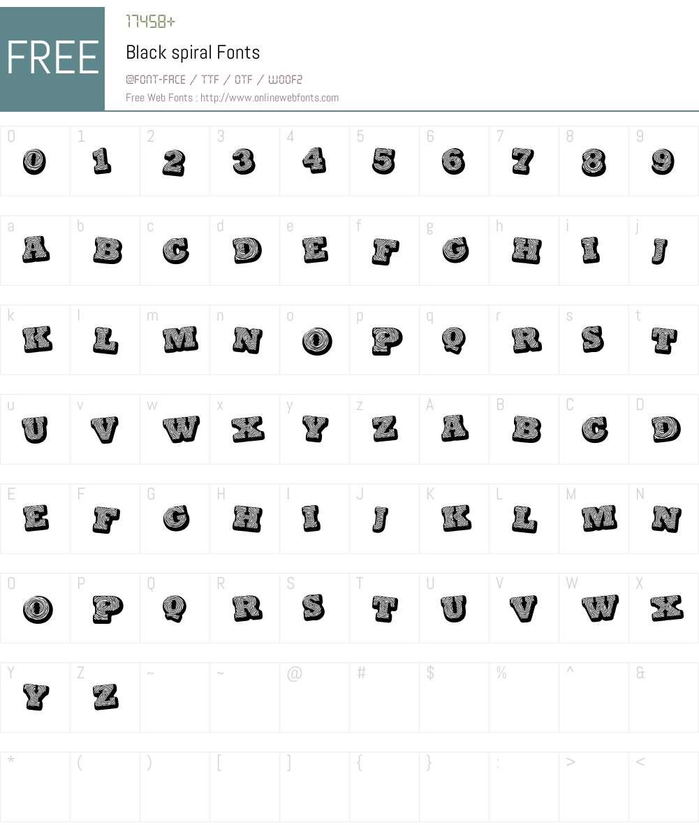 Black spiral Font Screenshots