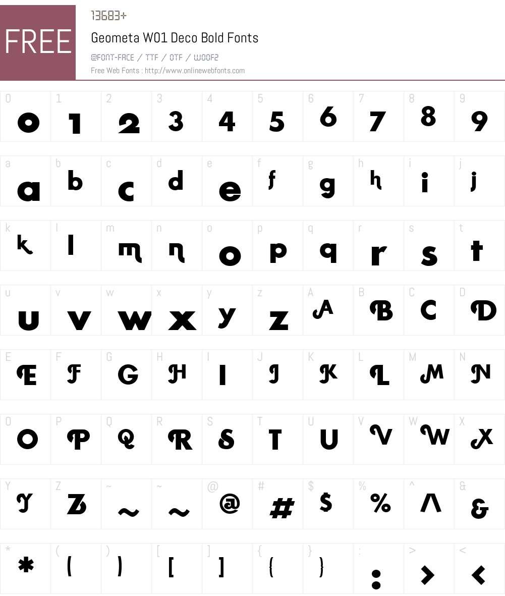 GeometaW01-DecoBold Font Screenshots