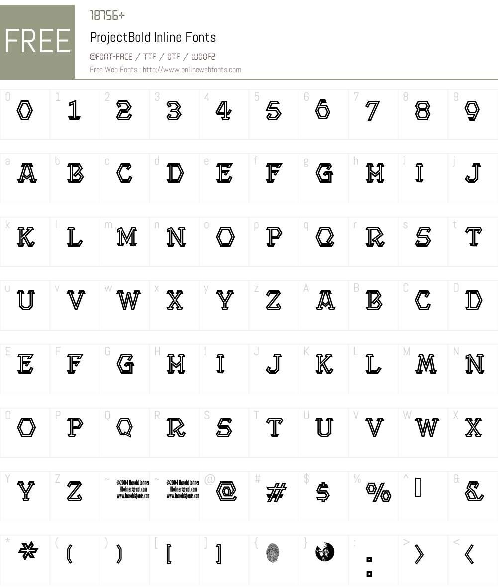 ProjectBold Inline Font Screenshots