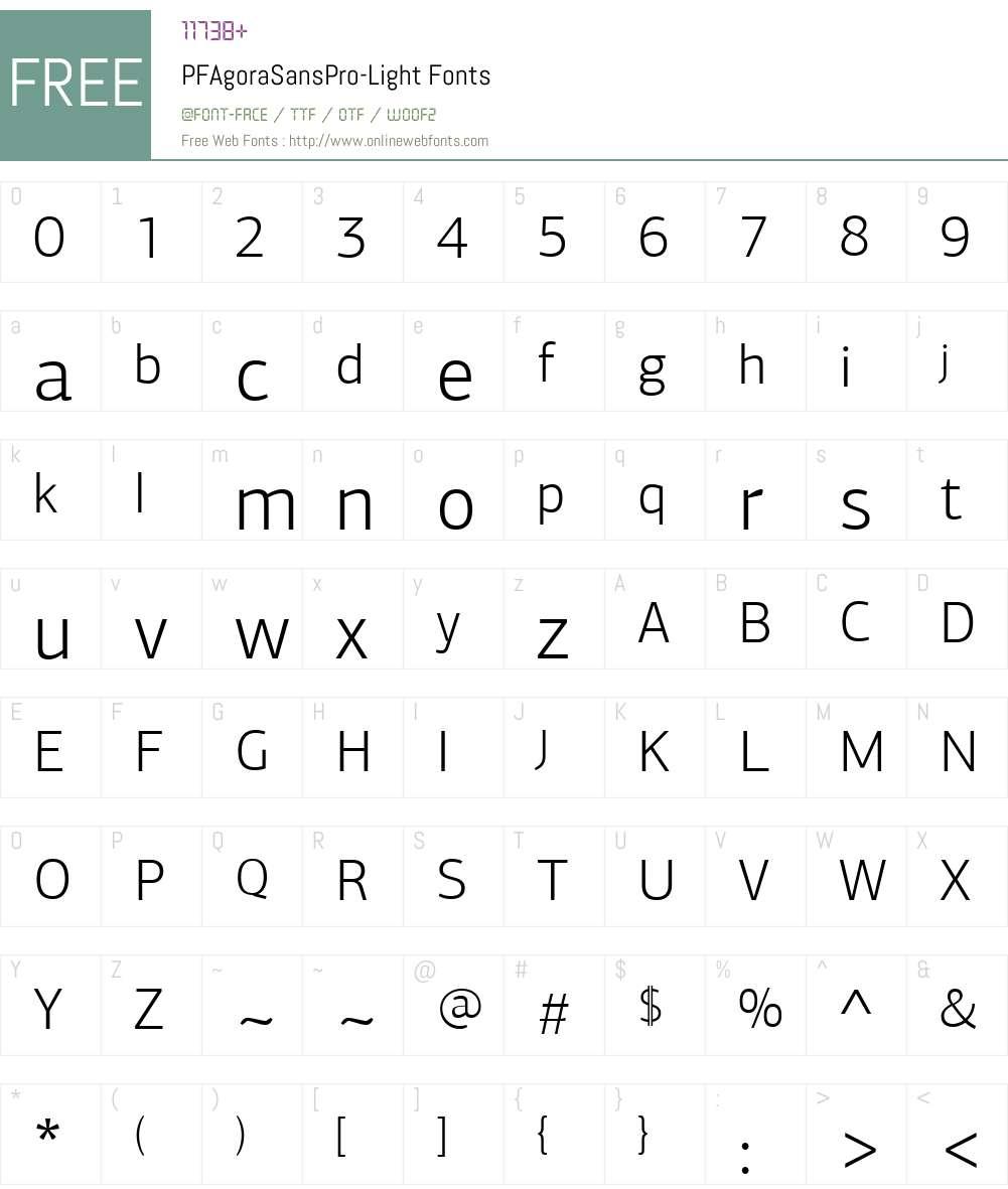PF Agora Sans Pro Light Font Screenshots