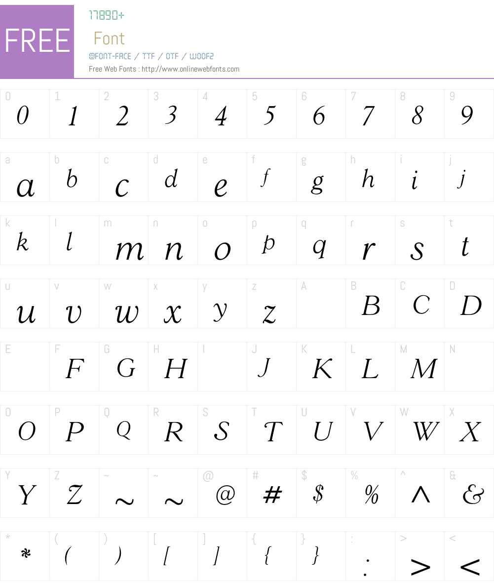 GoudY38LightItalic Font Screenshots