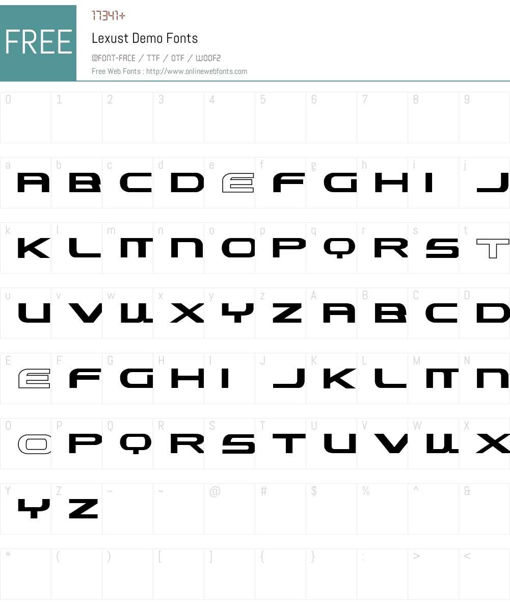Lexust Demo Font Screenshots