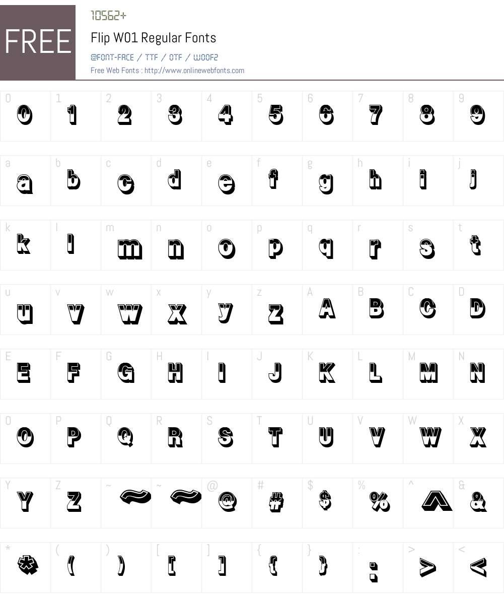 FlipW01-Regular Font Screenshots