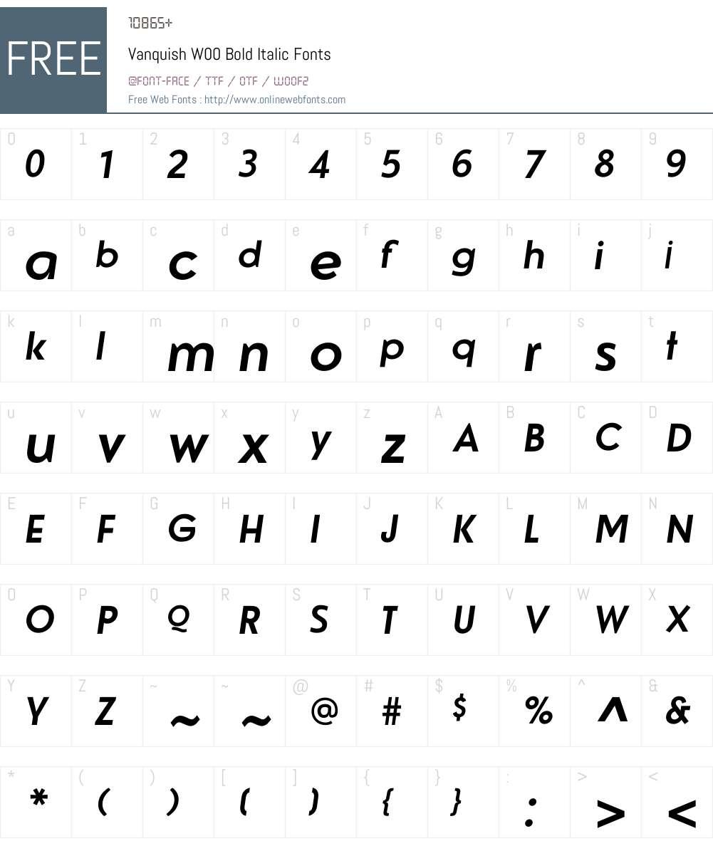 VanquishW00-BoldItalic Font Screenshots