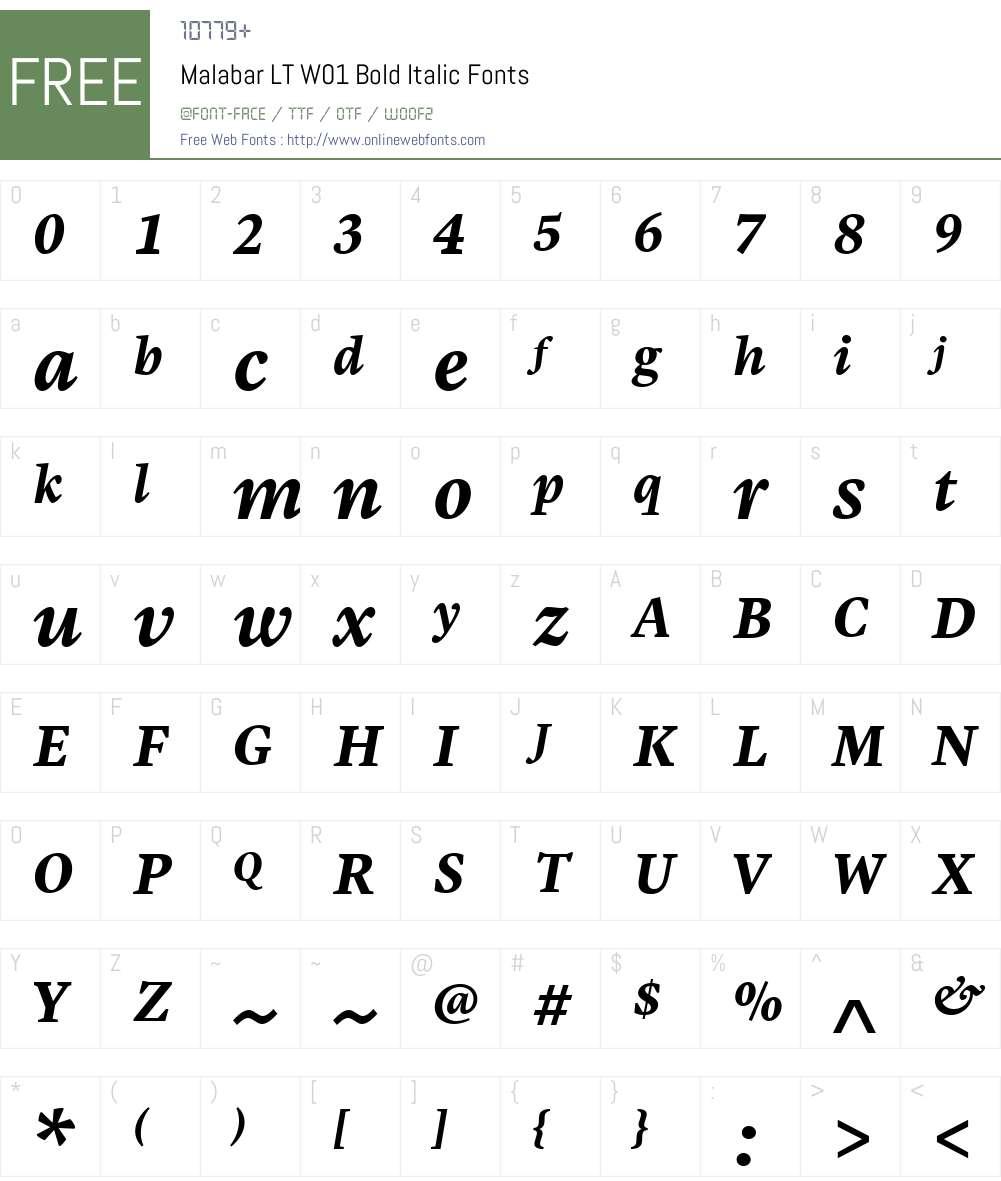 MalabarLTW01-BoldItalic Font Screenshots