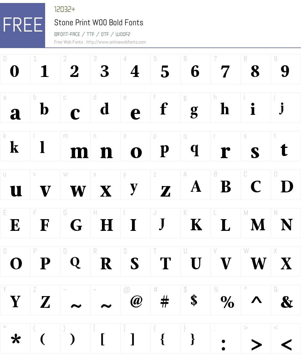 StonePrintW00-Bold Font Screenshots
