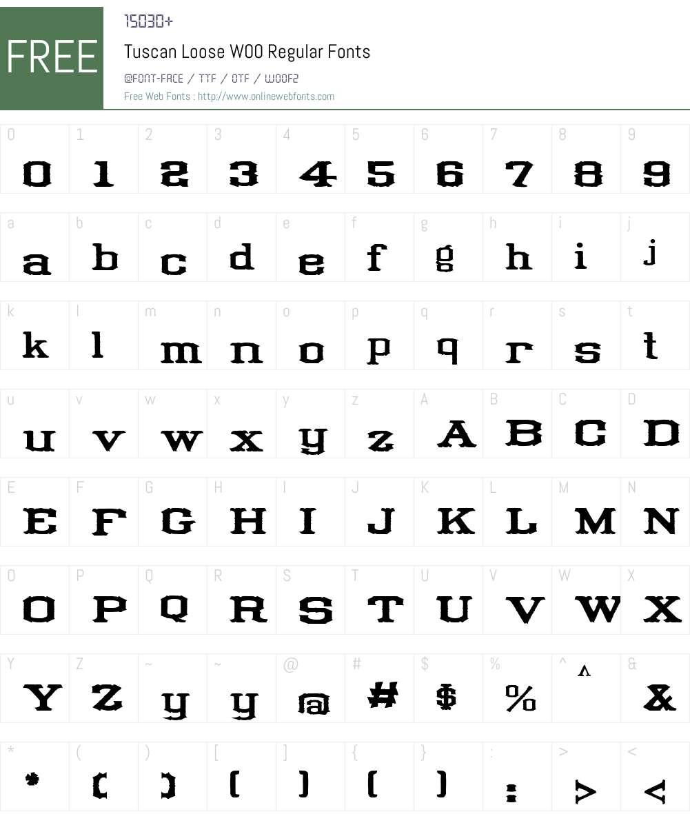 Tuscan Loose Font Screenshots
