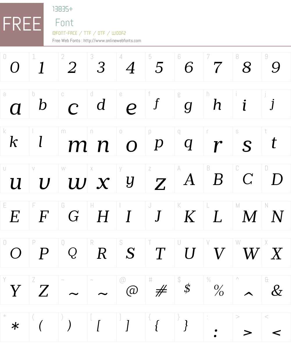 PrumoSlabW00-BookItalic Font Screenshots
