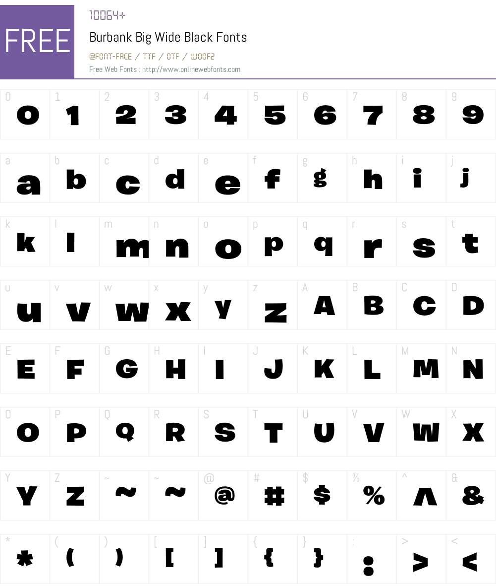 Burbank Big Wide Font Screenshots