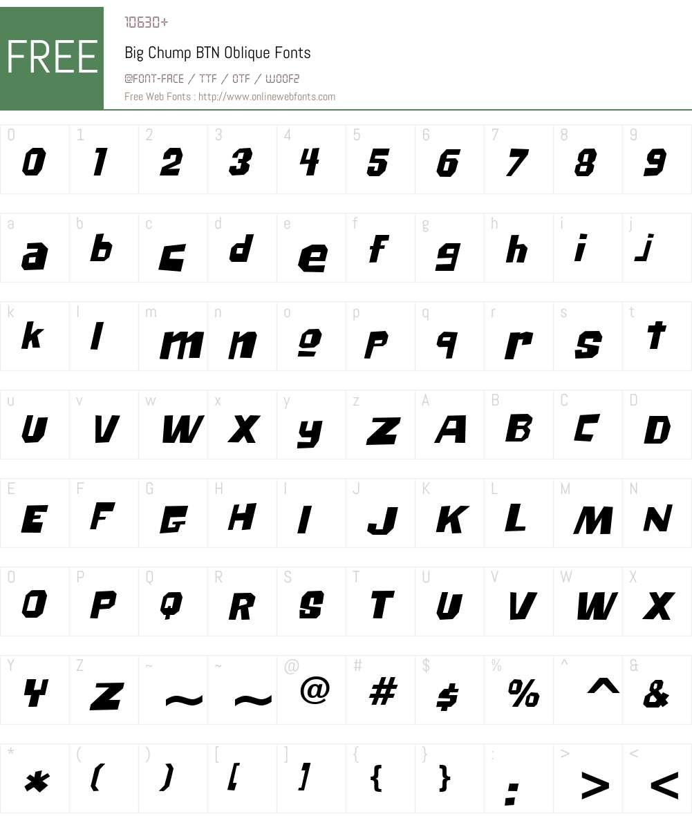 Big Chump BTN Font Screenshots