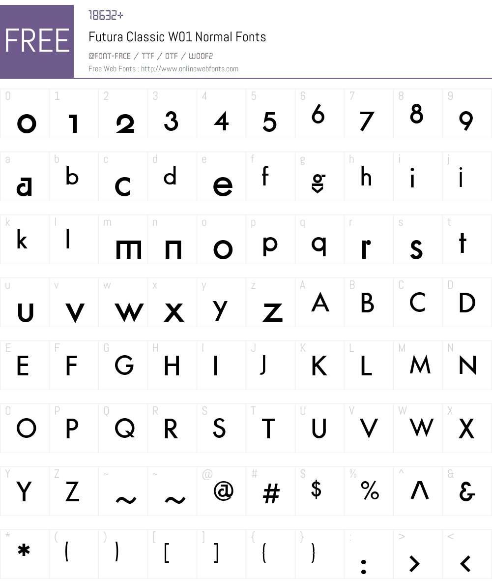 FuturaClassicW01-Normal Font Screenshots