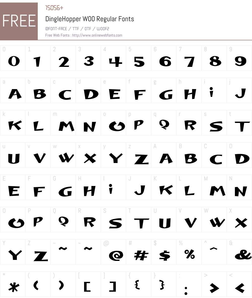 DingleHopperW00-Regular Font Screenshots