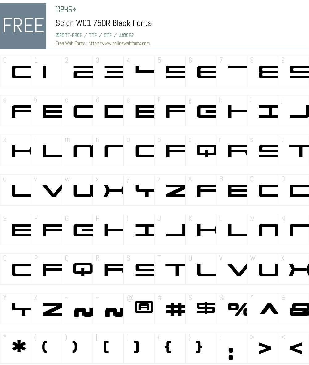 ScionW01-750RBlack Font Screenshots