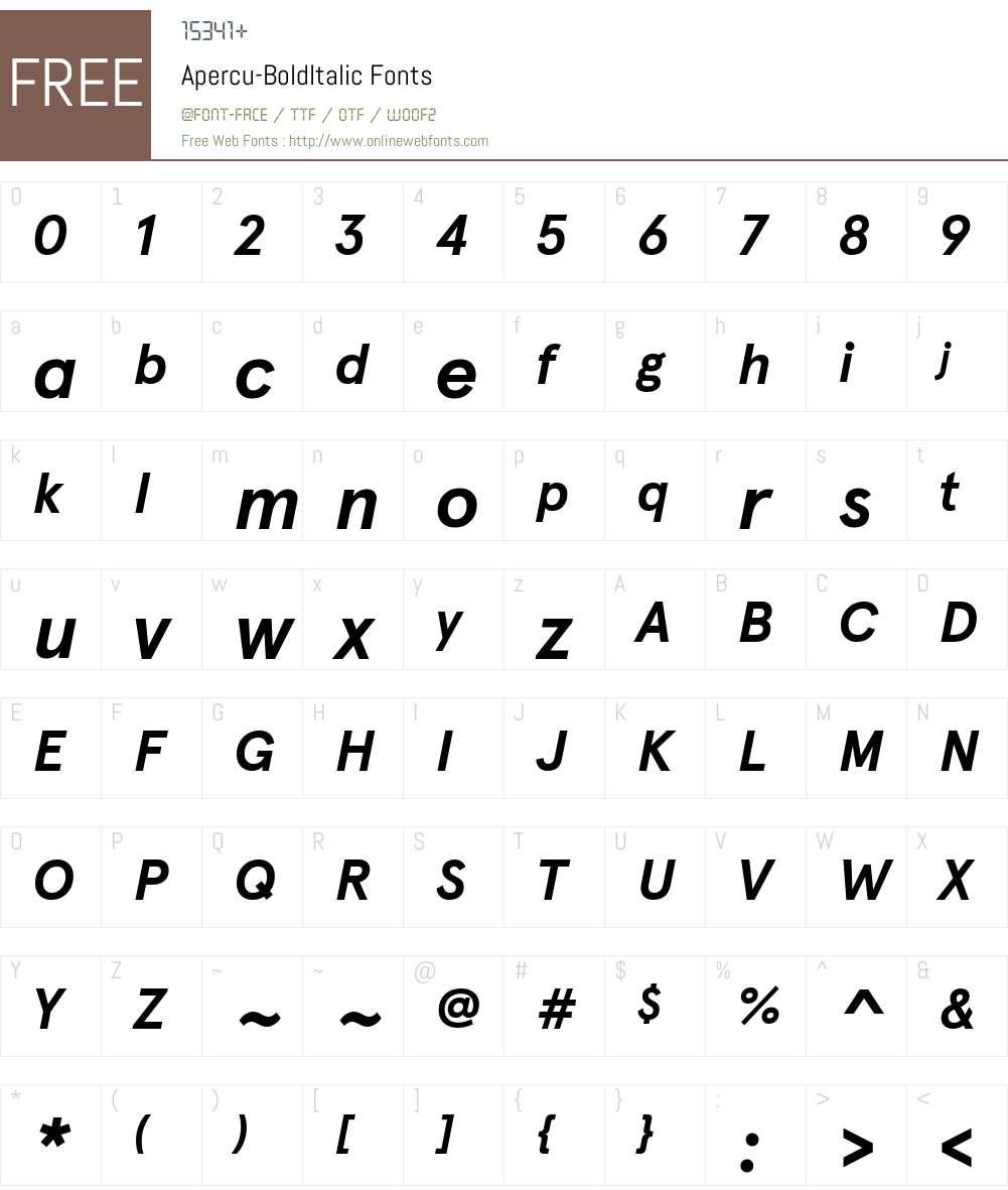 Apercu-BoldItalic Font Screenshots