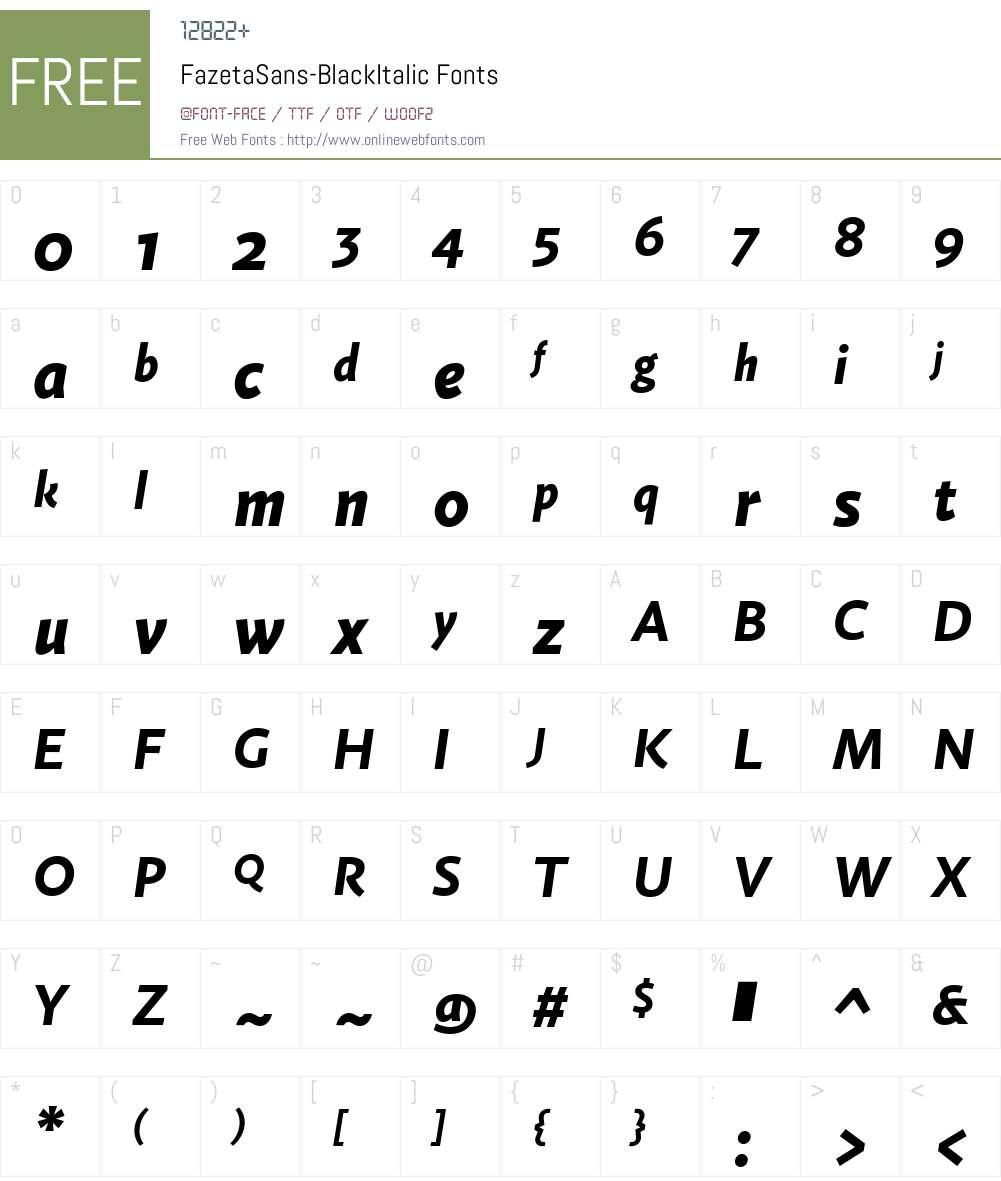 FazetaSans-BlackItalic Font Screenshots