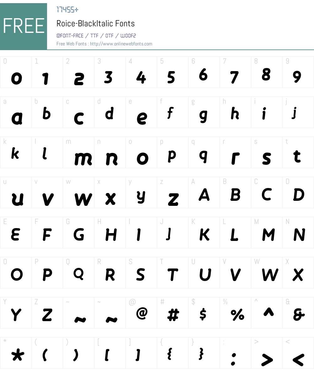 Roice-BlackItalic Font Screenshots