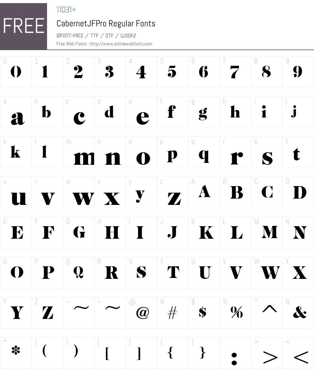 CabernetJFPro-Regular Font Screenshots