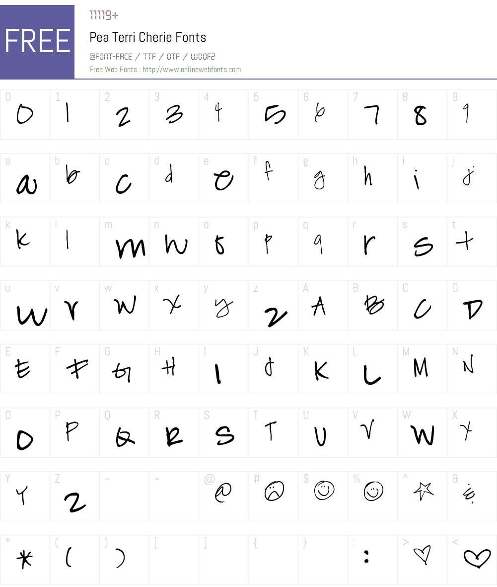 Pea Terri Cherie Font Screenshots
