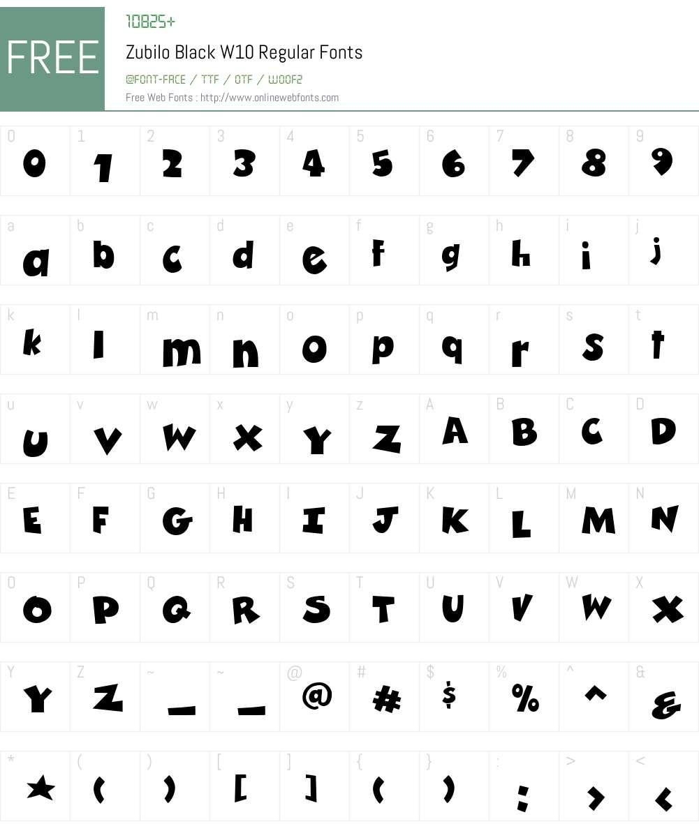 Zubilo Font Screenshots