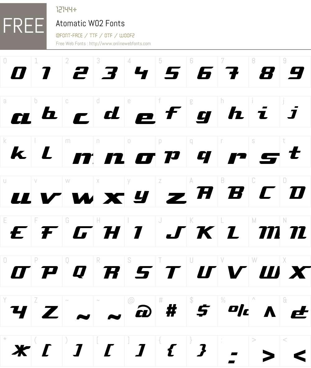 AtomaticW02 Font Screenshots