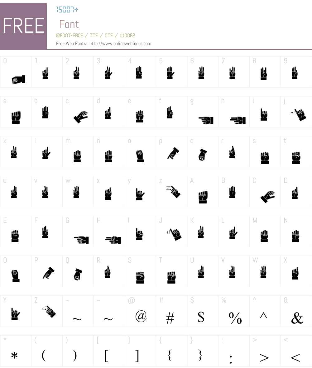 Dissaramas CRU Fingerspelling Font Screenshots