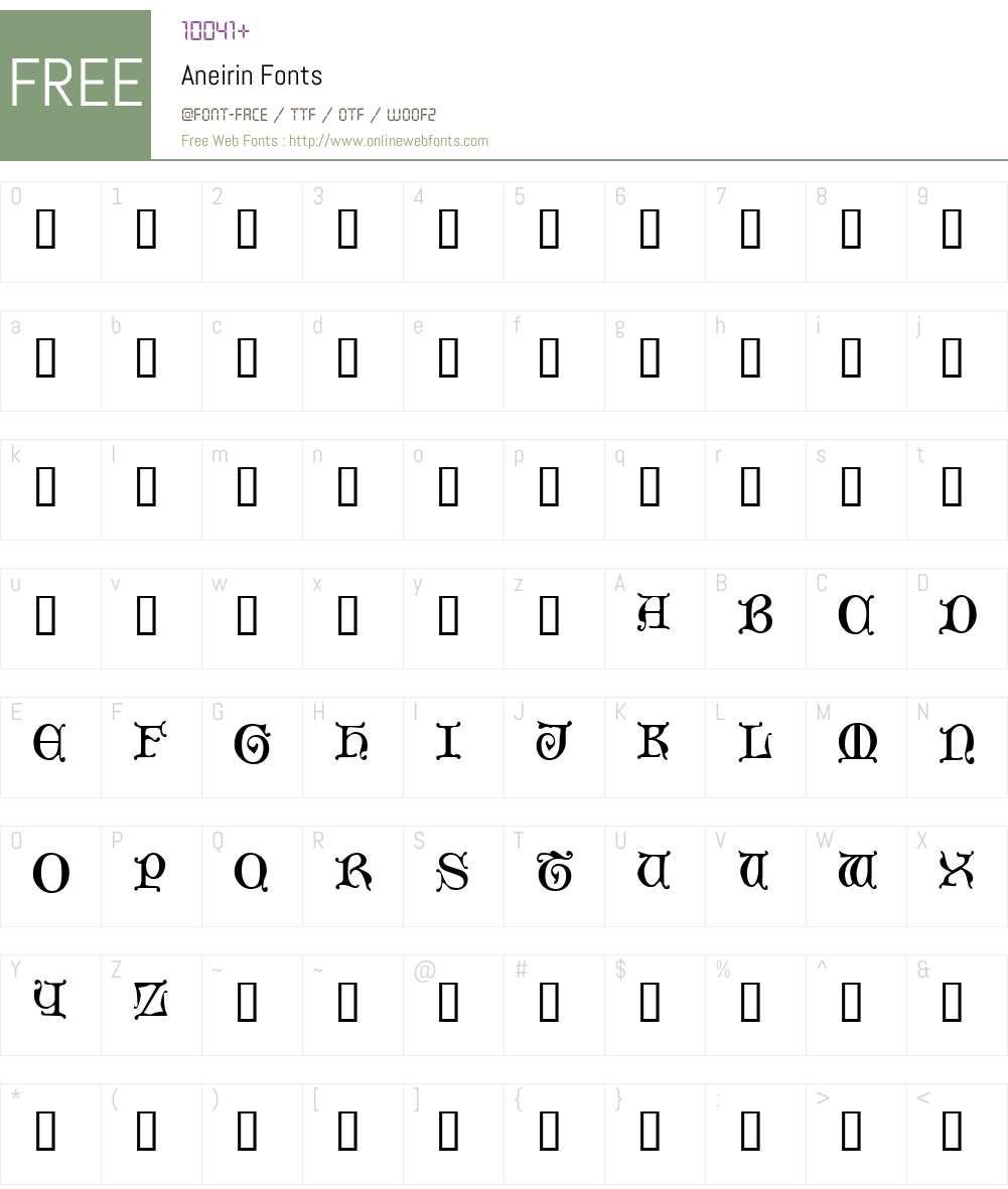 Aneirin Font Screenshots