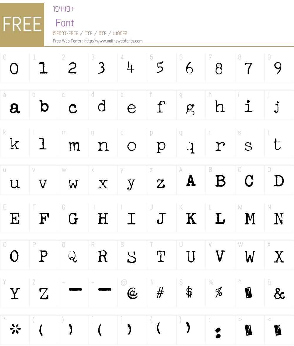 FreekyTypewriter Font Screenshots