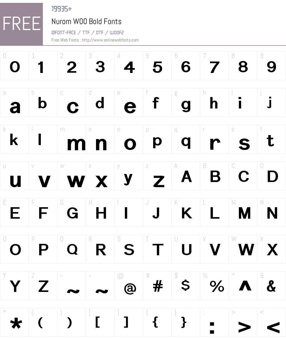 NuromW00-Bold Font Screenshots