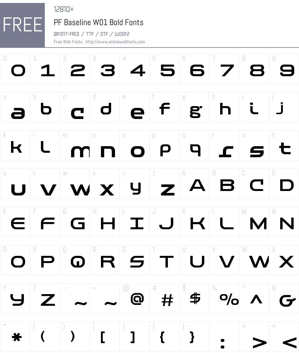 PFBaselineW01-Bold Font Screenshots